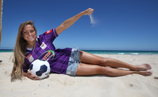 Perth Glory women teammember Shelina Zadorsky is enjoying the sand and sun at City Beach. PIC BY SHARON SMITH / THE WEST AUSTRALIAN. 3 December, 2014.